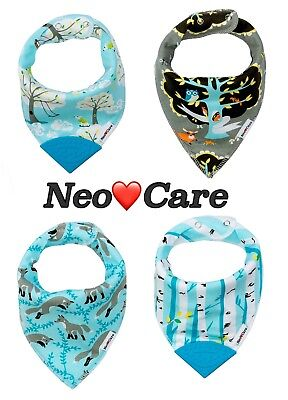 Organic Cotton Teether - NeoCare 100% Organic Cotton Baby Bandana Bibs with Teethers - Shipped from CA!