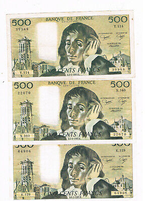 FRANCE P 156 3X500 FRANCS 1980,81,82 BLAISE PASCAL CIRC