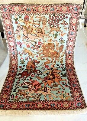 Persian Antique Handmade Silk Rug Art Wall Hanging Hunting king Carpet RRP £2600 for sale  St. Neots