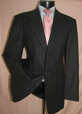 Incredible Ultimo  Oumo 3 Buttons Charcoal Stripes Flannel Men Suit 40 L  - Incredibles Suits