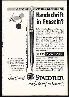 3w1643/ Alte Reklame von 1960 - schreibe mit STAEDTLER - weil´s drauf ankommt.