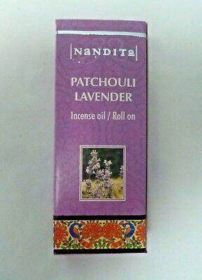 Nandita Scented Oil: Patchouli Lavender (8 ml, 1/4 oz) Vegan Aromatherapy