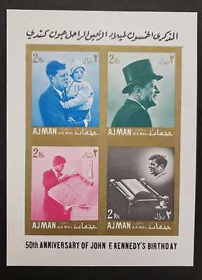 Ajman - John F Kennedy Imperf Souvenir Sheet - MNH