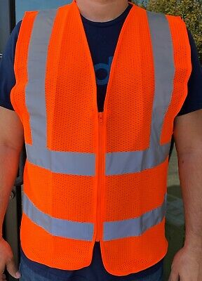 Orange Mesh High Visibility Safety Vest Ansi Isea 107-2010
