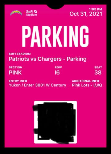 NE Patriots @ LA Chargers 10/13/21 pink lot parking pass (tailgating allowed)