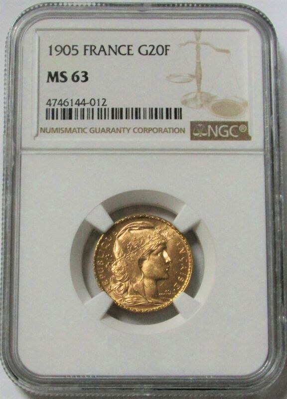1905 GOLD FRANCE 20 FRANCS ROOSTER COIN NGC MINT STATE 63