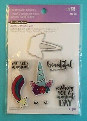 New MAGICAL UNICORN RAINBOW Clear Acrylic Stamps and Dies by RECOLLECTIONS ](Unicorn And Rainbows)