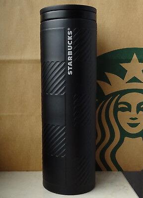 Starbucks Tumbler Thermobecher Edelstahl Plaid schwarz mit Muster 16oz NEU