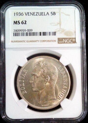 1936 MS 62  5 Bolivares -FUERTE-Gram 25 Venezuela Silver coin  Graded NGC