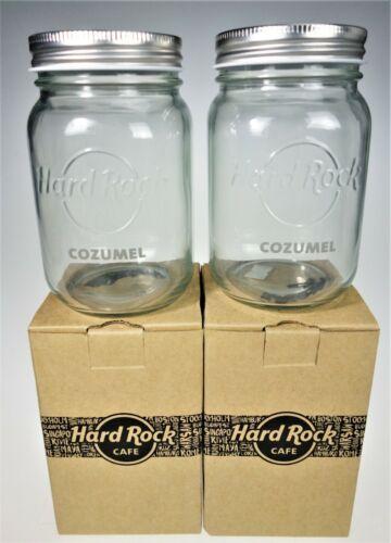 2 Hard Rock Cafe Cozumel Mexico Mason Jar Drink Glasses