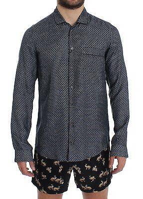 NEW DOLCE & GABBANA Blue Motive Print SILK Pajama Shirt Sleepwear IT4/ US S