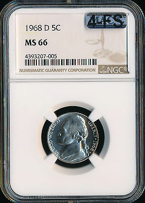 Click now to see the BUY IT NOW Price! 1968 D JEFFERSON NICKEL NGC MAC MS66 4 FS LY  2ND FINEST GRADE