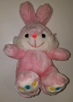Soft Things Pink Bunny Rabbit Plush Stuffed Animal Toy Easter Basket Blue Yellow for sale  Salem