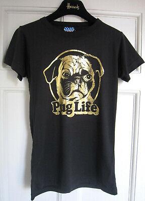 Pug Life designer black T-shirt by Junk Food with gold foil print. Mint. Size M.