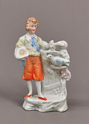 99840832 Nippes-Figur/Vase Thuringia Um 1900 Pigeon Fanciers Hand Painting H12,