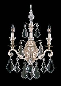 Antique-BRONZE-3-Light-Wall-Sconce-Lamp-Crystal-Candelabra-Chandelier-Vintage