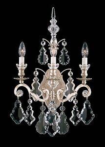 Antique-BRONZE-3-Light-Wall-Sconce-Lamp-Crystal-Candelabra-Chandelier-Vintage