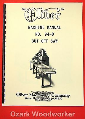 Oliver No. 94-d Cut Off Saw Owners And Parts Manual 1076