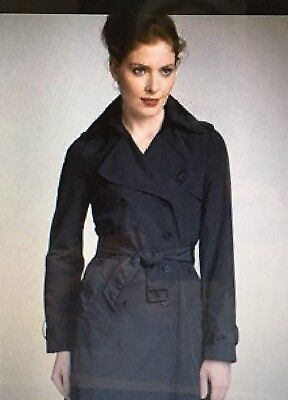 New $625 Theory Magena Trench Coat Tailor fabric Black * P XS wool blend
