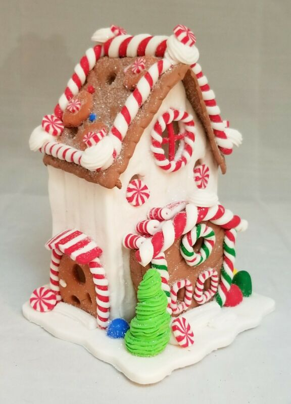"""Gingerbread House White Brown Red Candy LED Light Up Clay-dough 5.5"""" Kurt Adler"""