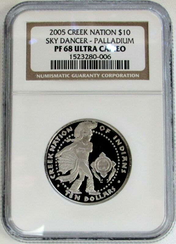 2005 CREEK NATION PALLADIUM $10 SKY DANCER 1/2oz COIN NGC PROOF 68 ULTRA CAMEO