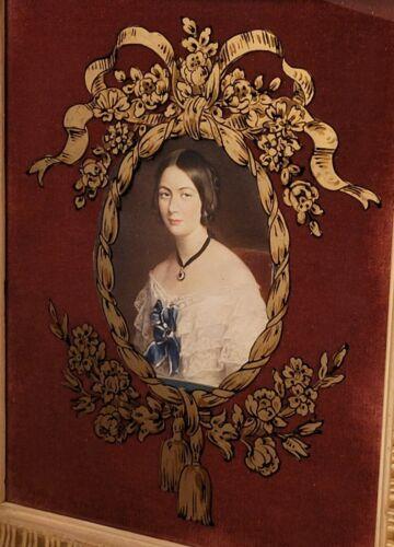 Vintage Eglomise Reverse Glass Gold Paint Victorian Woman Portrait Wood Framed