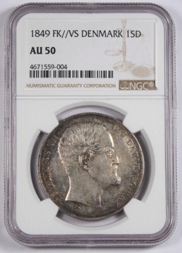 Denmark 1849 FK VS Speciedaler Silver Coin KM744.1 NGC AU50 Frederick VII AU