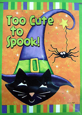 """small """"Too Cute to Spook!"""" Cat Halloween Garden Flag (12.5"""" x 18"""") 2 sided"""