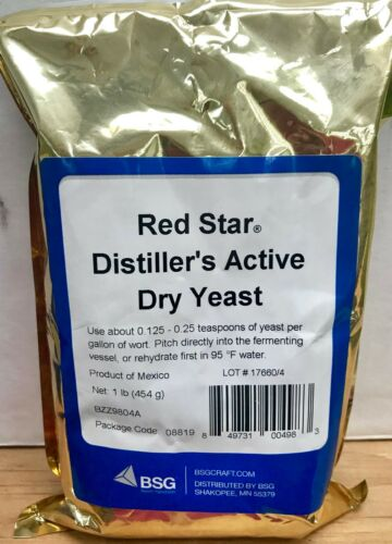 AUTHENTIC RED STAR / BSG Distillers Yeast ( DADY ) 1 LB Pack ~ FRESH!