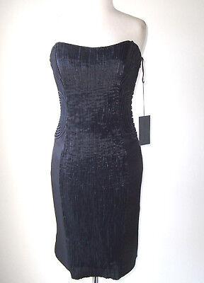 ALBERTA FERRETTI Black Embroidered Strapless Bustier Dress 44 8