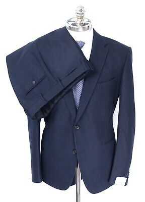 NWT CARUSO Solid Navy Blue Twill Tweed Pure Wool 2 Btn Suit 40 R (EU 50) Drop 8