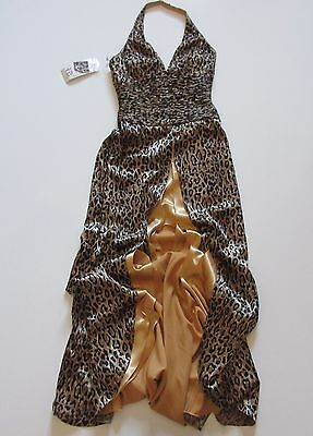NWT Tony Bowls Evenings Satin Leopard Beaded Ruched Halter Prom Gown Dress - Beaded Ruched Prom Dress