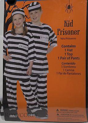 Halloween Boys Girls Kid Prisoner Costume Hat Top Pants Size Small 6 - Kids Prisoner Costume