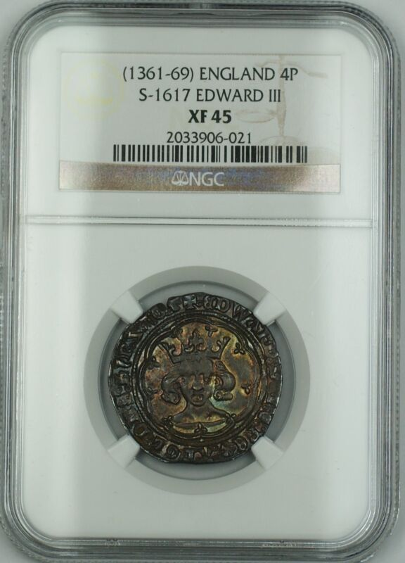 (1361-69) England Groat 4P Silver Coin S-1617 Edward III NGC XF-45 AKR