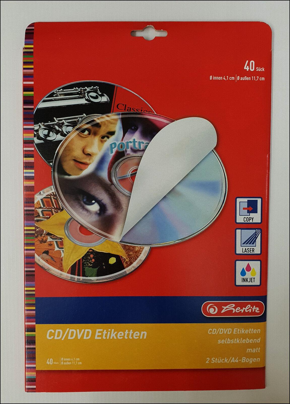 Herlitz CD/DVD Etiketten Selbstklebend Weiß Matt 40 Stück Neuware