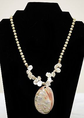 One-of-a-Kind Sandra Webster Necklace w/ Pearls, 24kt Gold Bali Beads, Shell
