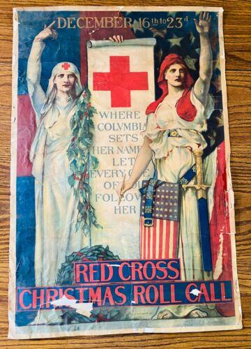 ANTIQUE WWI 1918 Red Cross Roll Call Christmas ORIGINAL Poster EH Blashfield