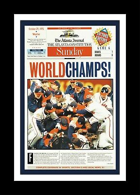 ATLANTA BRAVES 1995 WORLD SERIES CHAMPIONS MATTED PIC OF NEWSPAPER FRONT PAGE - Braves Atlanta
