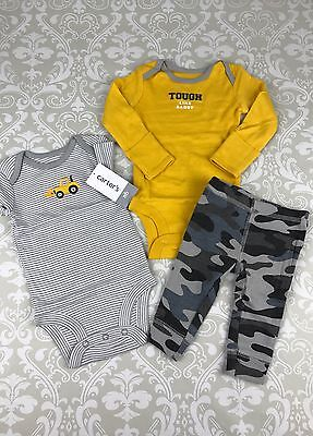 NWT Carters Baby Boy NB Newborn Tough Like Daddy 3 Piece Outfit Set Tractor Camo