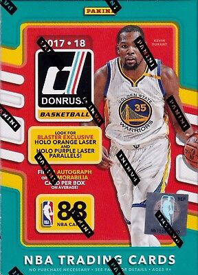 2017/18 Donruss Basketball unopened blaster box 11 packs of 8 NBA cards 1 hit