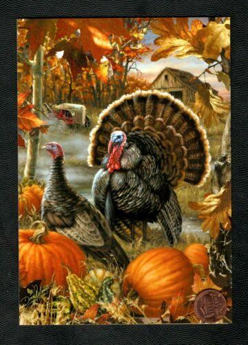 Thanksgiving Turkeys Pumpkin Patch Barn Leaves - Greeting Card New - W/ TRACKING