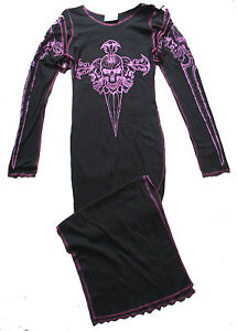 BLACK-PINK-SKULL-AXE-LONG-STRAP-JERSEY-DRESS-10-12-GOTH-STEAMPUNK-CYBER
