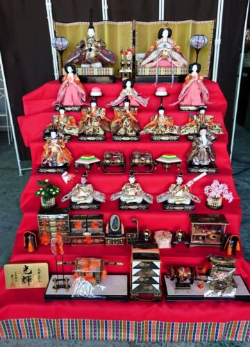 #01 Full set of 15 Japanese Kimono HINA Doll & Accessories for 7 Step Display