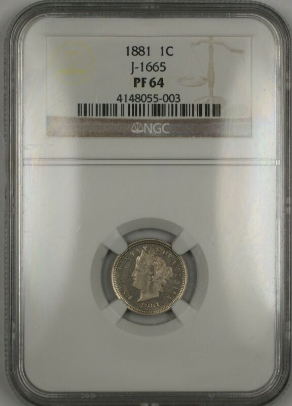 1881 Proof 1c Cent Penny Pattern Coin J-1665 Ngc Pf-64 Ww -like Liberty V Nickel