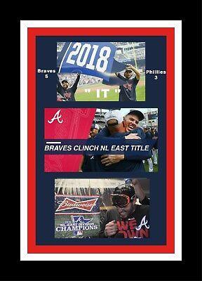 Atlanta Braves Mat - ATLANTA BRAVES WIN 2018 NL EAST MATTED SINGLE PIC MULTI-IMAGE CELEBRA COLLAGE #3