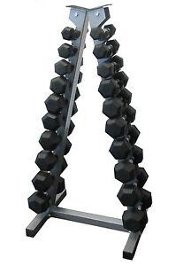 Rubber Hex Dumbbells Pack 1KG-10KG Set with Rack Home Gym Fitness