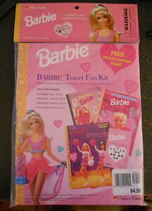 Little Golden Book Barbie Travel Fun Kit~4 piece~Book/2 Activity Books/Earrings