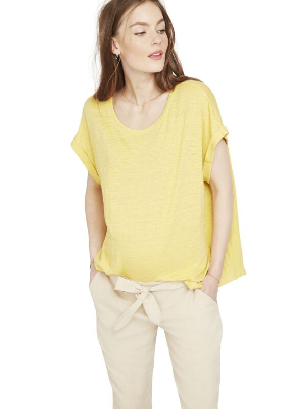 Hatch Maternity Women's THE LINEN CIRCLE TEE Canary Yellow Size 1 (S/4-6) NEW