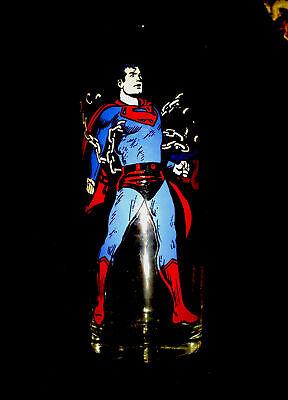 """RARE VINTAGE PEPSI COLLECTORS SERIES 1975 """"SUPERMAN""""GLASSWARE - BRIGHT COLORS !"""