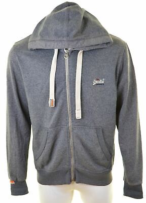 SUPERDRY Mens Hoodie Sweater 2XL Blue Cotton  EF01
